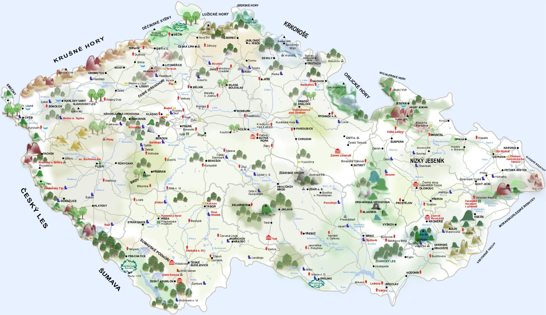 Czech castles map Castles in Czech republic map Eastern Europe