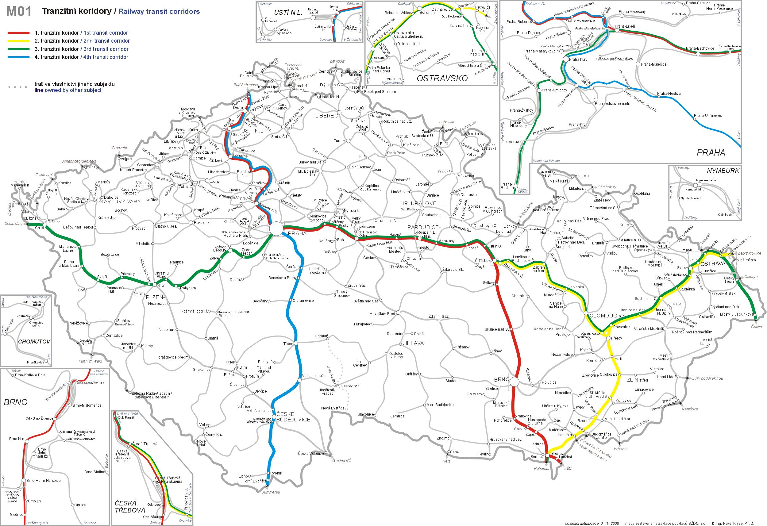 Czech railway map Czech republic rail map Eastern Europe Europe