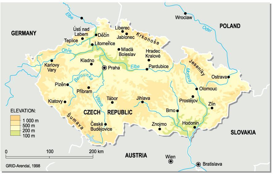 Czech republic elevation map Czechia elevation map Eastern Europe
