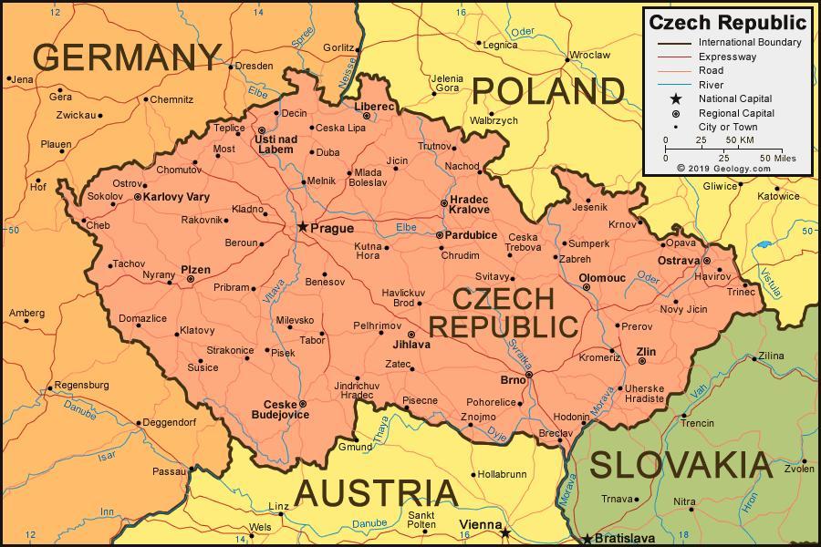 Czech republic map and surrounding countries Map of Czech republic