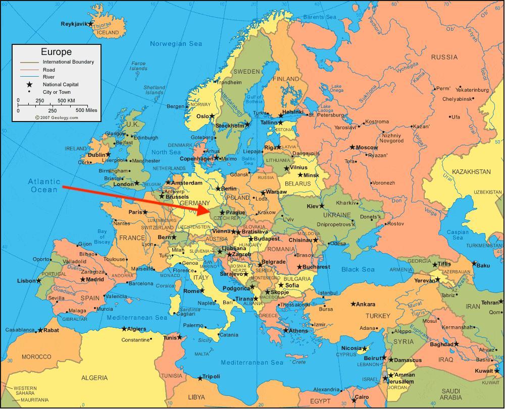 Czech republic map Europe   Map of Czech republic in Europe