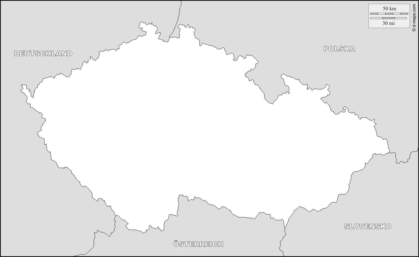 Superb Czechia Outline Map
