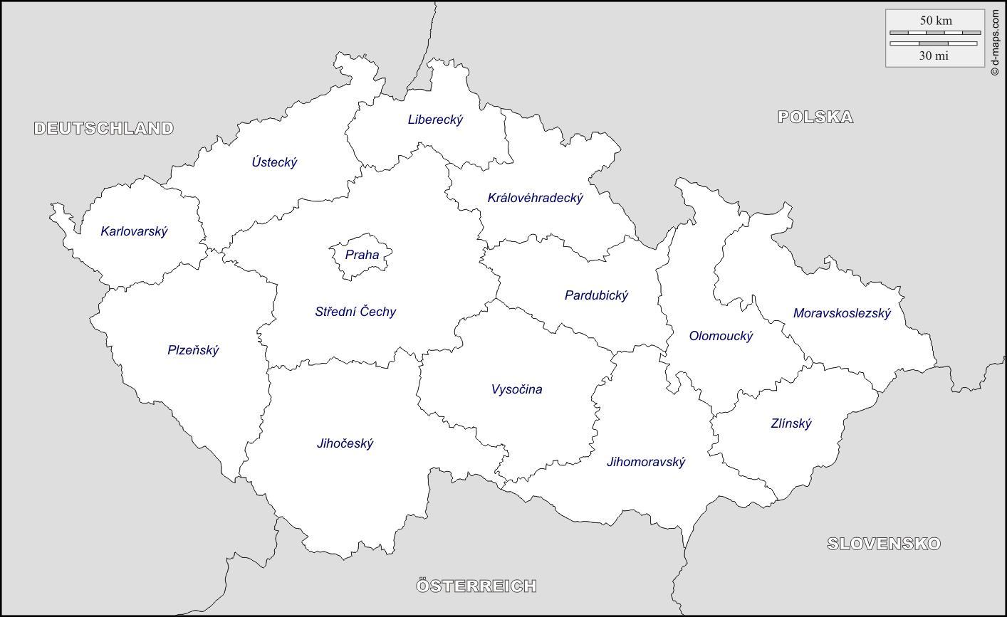 Czech republic map regions Map of Czech republic regions Eastern