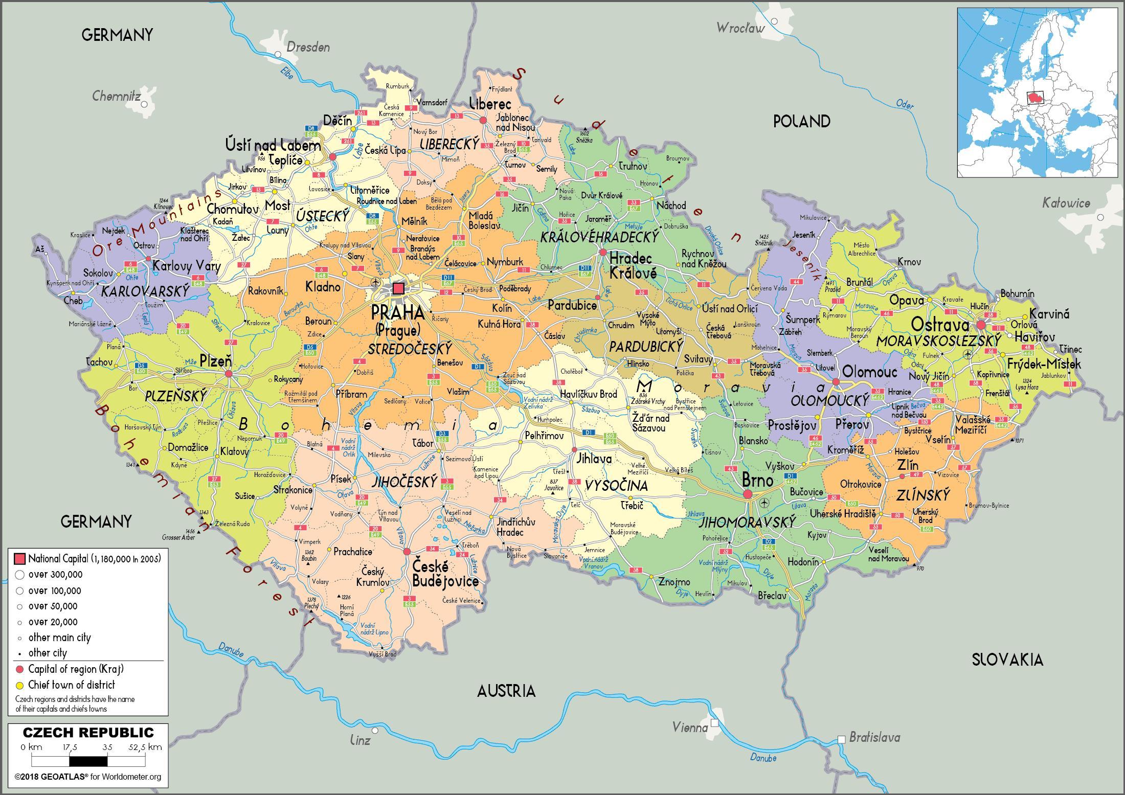 Czech republic political map   Political map of Czech republic
