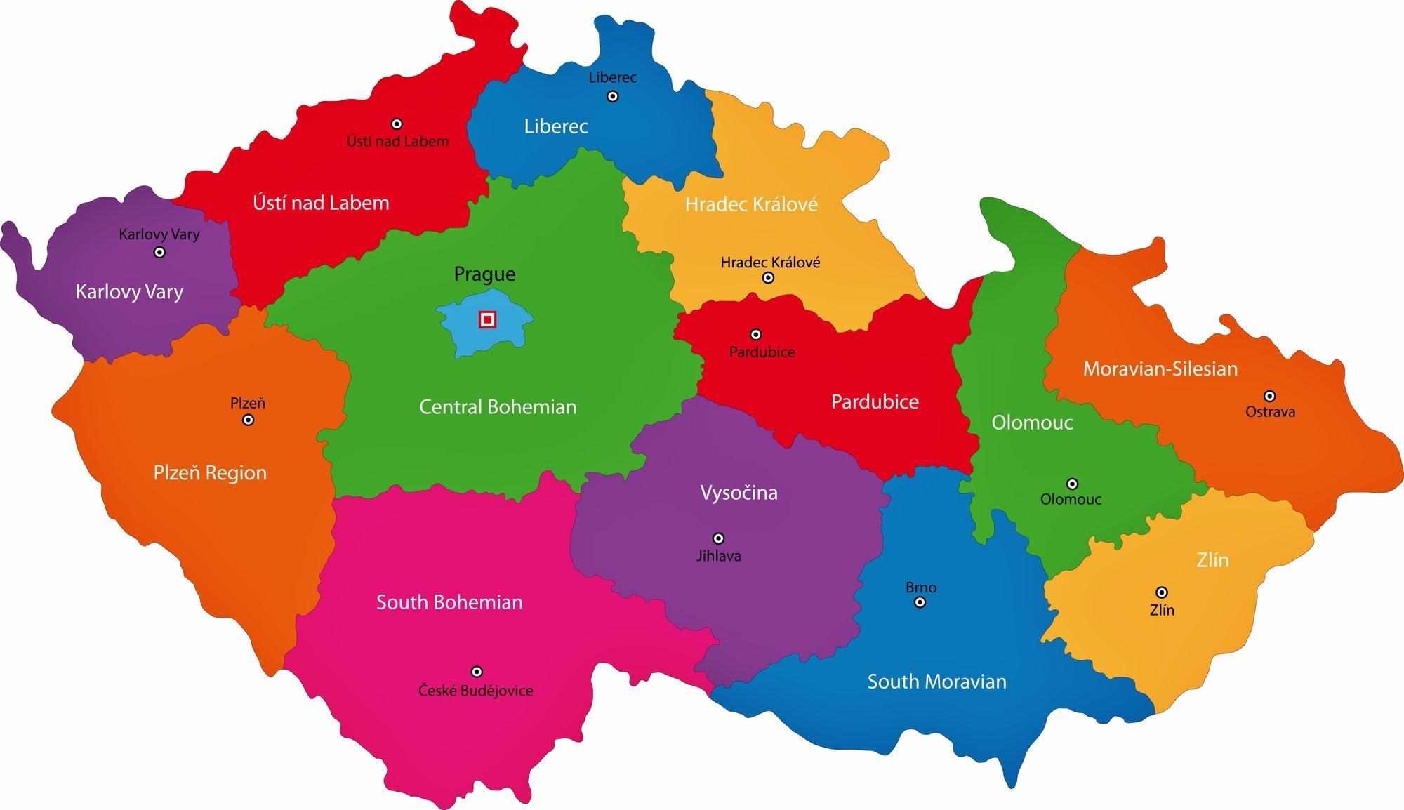 Czech republic regions map Czechia regions map Eastern Europe
