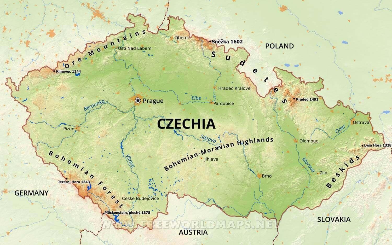 Czech republic river map - Czechia river map (Eastern Europe - Europe)
