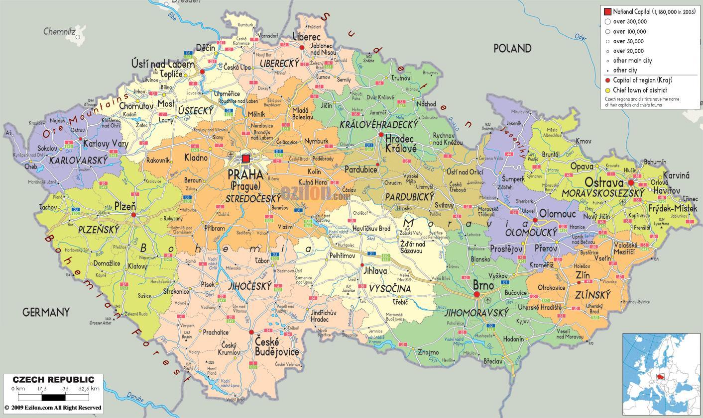 Map Of Czech Republic Map Czech Eastern Europe Europe - Czech republic map