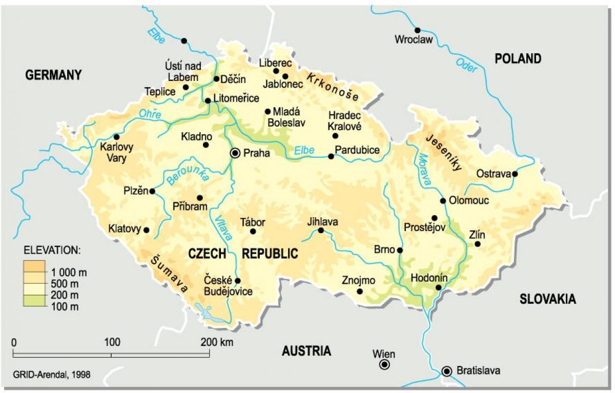 Czechia elevation map
