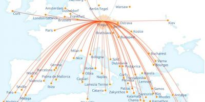 Map of Czech airlines route